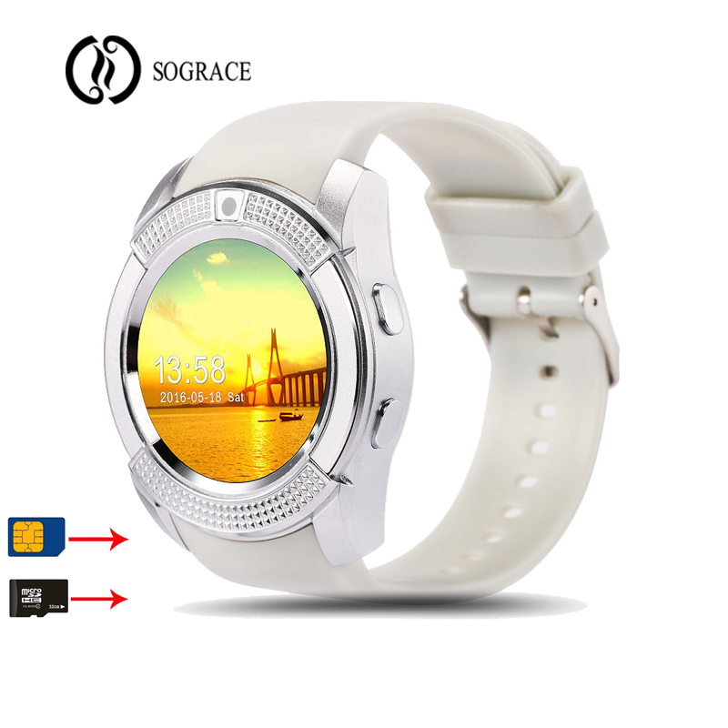 Sograce Bluetooth V8 Smart Watch hombres mujeres Passometer Relojes tarjeta SIM TF relogio reloj inteligente Smartwatch para teléfono Android