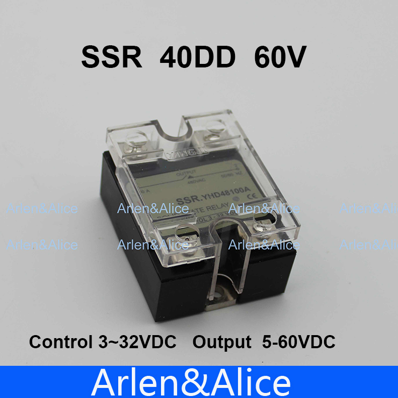 40DD SSR Control voltage 3~32VDC output 5~60VDC DC single phase DC solid state relay 5 60vdc to 3 32vdc 40a ssr 40dd solid state relay module with plastic cover