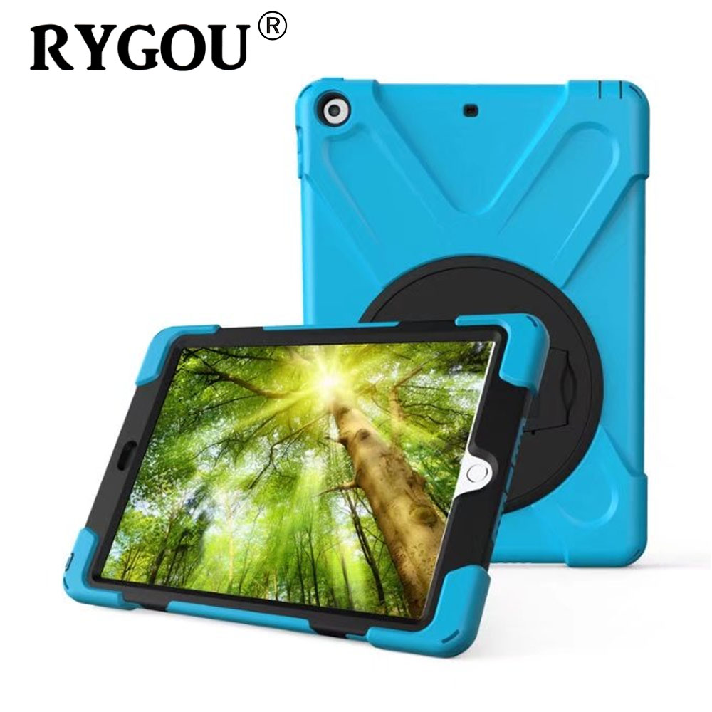 Rygou Case For Apple iPad 9.7 inch 2017 Release, Kids Safe Shockproof Impact Resistant Heavy Duty Armor Soft Silicone+Hard Cover for amazon 2017 new kindle fire hd 8 armor shockproof hybrid heavy duty protective stand cover case for kindle fire hd8 2017