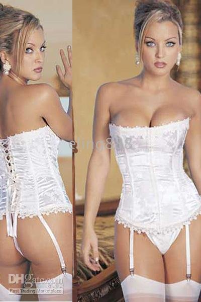 White Club Wear New Sexy lingerie bustier bows corset X197 Black