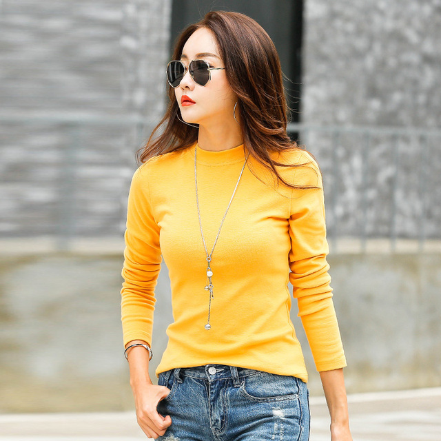 c55202df237 New T-shirts For Women Long Sleeve Cotton T Shirt Ladies Winter Top Tee  Solid