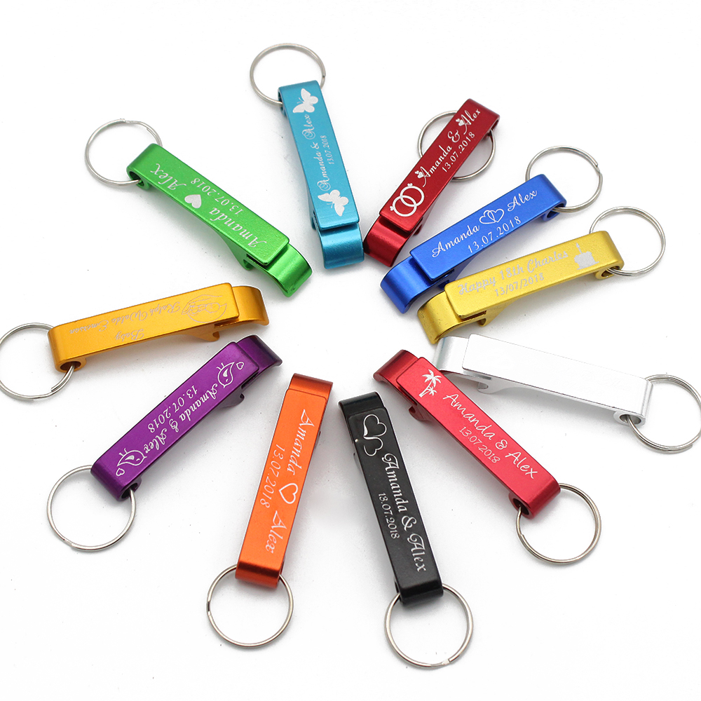 Personalized Engraved Bottle Openers Key Chain Wedding Favors Brewery, Hotel, Restaurant Logo Private Customized