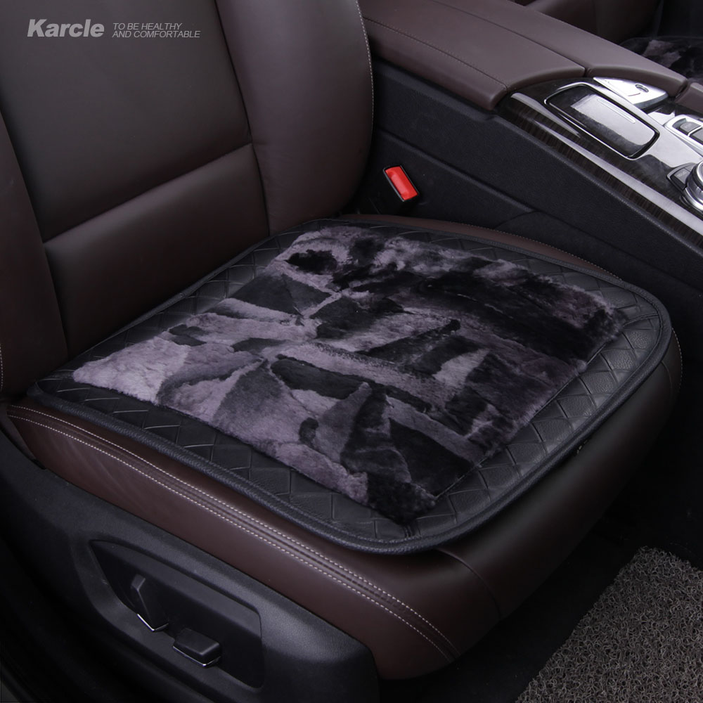Karcle Sheepskin Fur Car Seat Covers Wool&Leather Breathable Seat Cushion A..