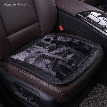 Karcle 1ピースシープスキン毛皮シートカバーウール&革通気性のカーシートクッション抗スキッド車スタイリング用起亜オートアクセサリー