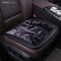 Karcle Wool Car Seat Mat With Leather Edge Warm Auto Sheepskin Seat Cover For Winter With