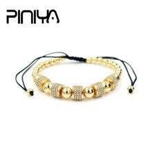 Luxury Fashion Men's 5 Round Tube Micro Pave CZ Crystal Macrame Braided Weava Charm Copper Bead Bracelet Jewelry pulsera hombres
