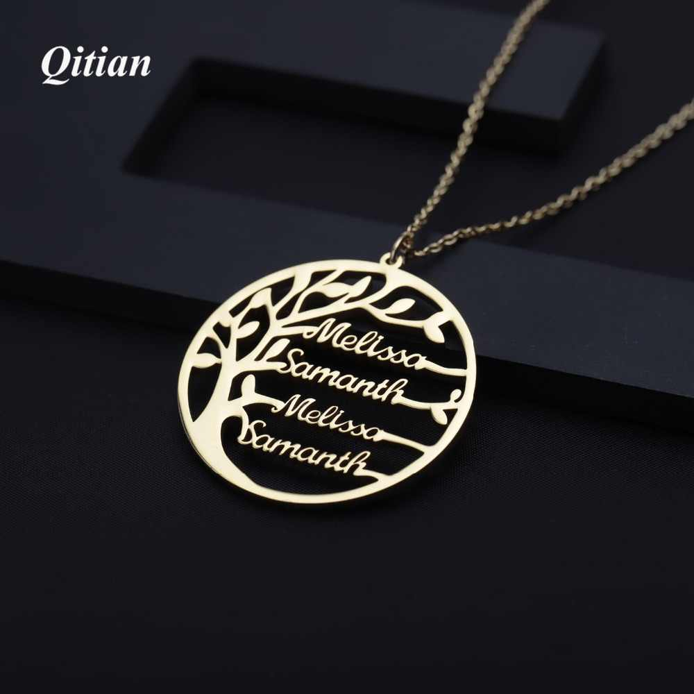 Hot  Statement Family Tree Necklace For Women Customized Name Gold Color Stainless Steel Personalized Jewelry Men Christmas Gift