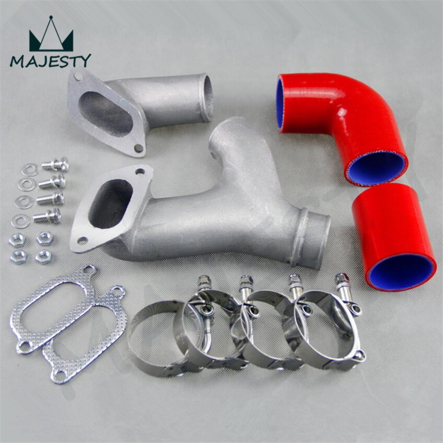 RED ALUMINUM TOP MOUNT INTERCOOLER Y-PIPE kit FIT FOR 02-07 SU*BARU IMPREZA WRX/STI GD/GG aluminium intercooler hard pipe piping hose kit for wrx impreza gda gdb 00 05 blue