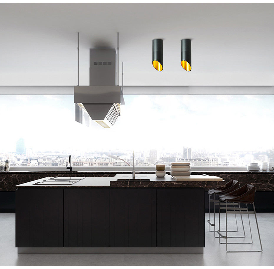 [DBF]LED Surface Mounted Ceiling Lamp with 1m Wire Hanging 7W White/Black AC85-265V Ceiling Spot Light Kitchen Bar Home Decor
