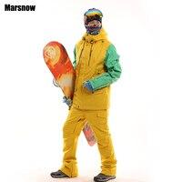 New arrival thicken winter snowboarding set men waterproof windproof warm ski mountaineering jacket and pants skiing suit
