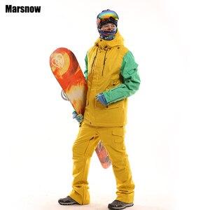 Nova chegada engrossar conjunto de snowboard inverno dos homens à prova dwindproof água vento quente esqui montanhismo jaqueta e calças terno