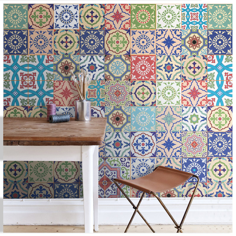 2017 new wholesale blue texture pattern collages wall for Cheap mural wallpaper
