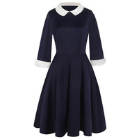 Women's Navy Blue Peter Pan Collar Skater Dress Wednesday Addams Cosplay Fit and Flare 3/4 Sleeve Black Dress Casual Wear