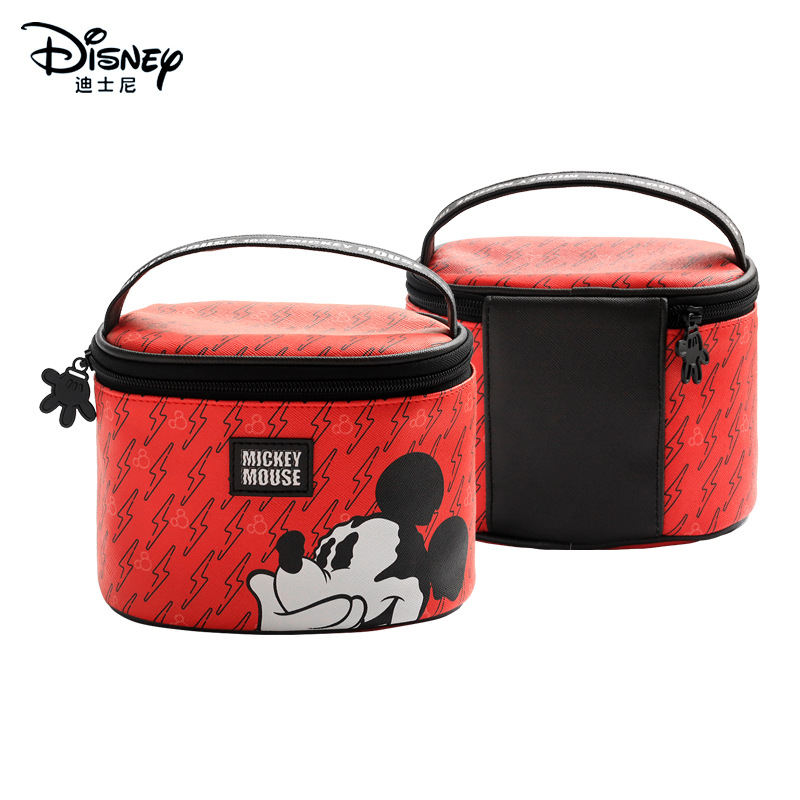 Disney Mickey Mouse Portable Cosmetic Bags Make Up Bag Multi-purpose Storage Coin PU Purse Cartoon Minnie Makeup Storage