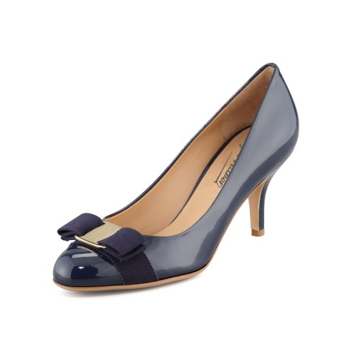 Navy Blue Round Toe Med High Heel Women Pumps Shoes Women Size 15 Bow Decoration High Slim Heel Pumps Black Stilettos Sexy Heels