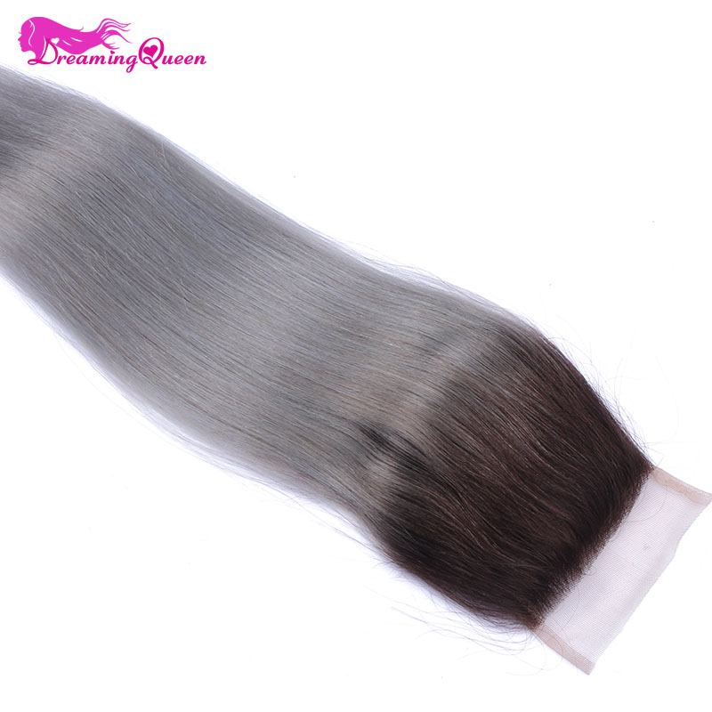 1B Grey Color Straight Human Hair Lace Closure With Baby Hair Brazilian Ombre Hair No Remy