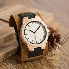 Bobo Vogel Heren Top Merk Mapel Hout Horloges Chicago Armbanden Zacht Leer Bands Bandjes Met Geschenkdoos Drop Verzending Relog