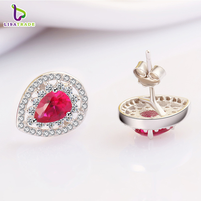 New Arrival 925 Sterling Silver Earrings with Beautiful Red Corundum Fine Jewelry Female Earrings Accessories C151