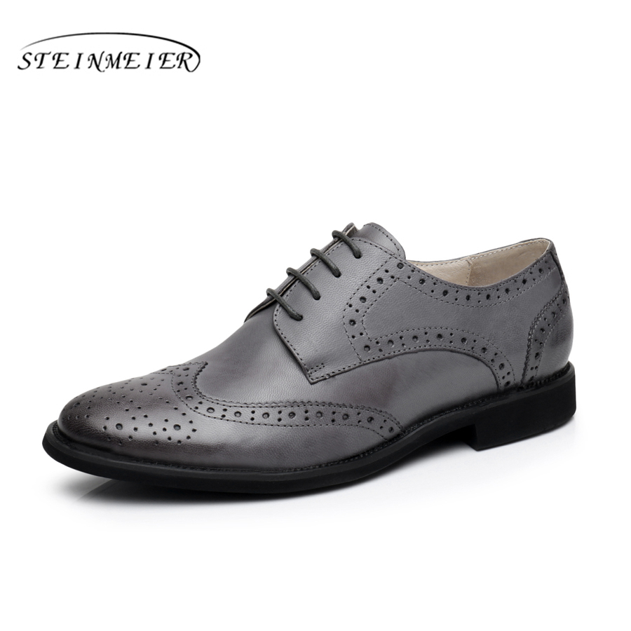 100% Genuine Sheepskin Leather Brogue Designer Vintage Yinzo Lady Flats Shoes Handmade Oxford Shoes For Women Black Brown Grey