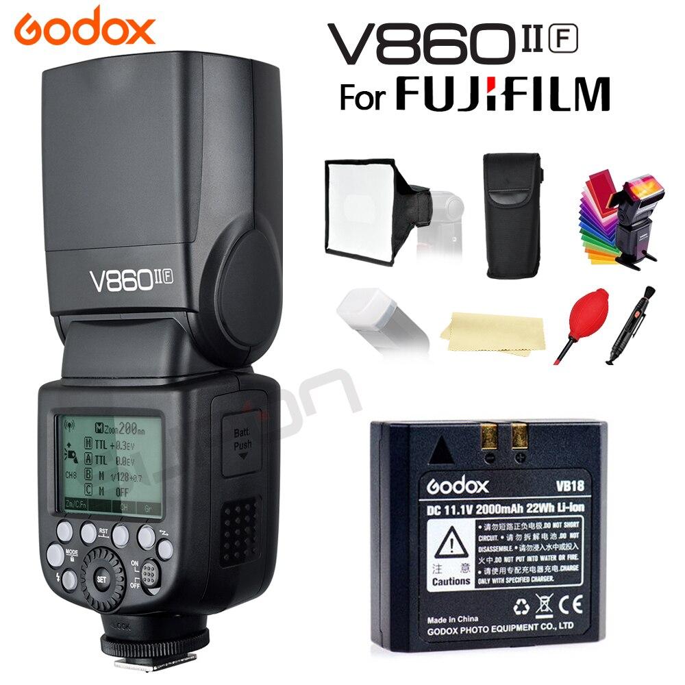 Godox V860IIF V860II-F Camera Flash speedlite TTL HSS 2.4G Li-ion Battery for Fujifilm Cameras+SUPON Free Gift Kit godox v860ii n v860iin gn60 i ttl hss 1 8000s speedlite flash w li ion battery x1t n flash transmitter optional for nikon
