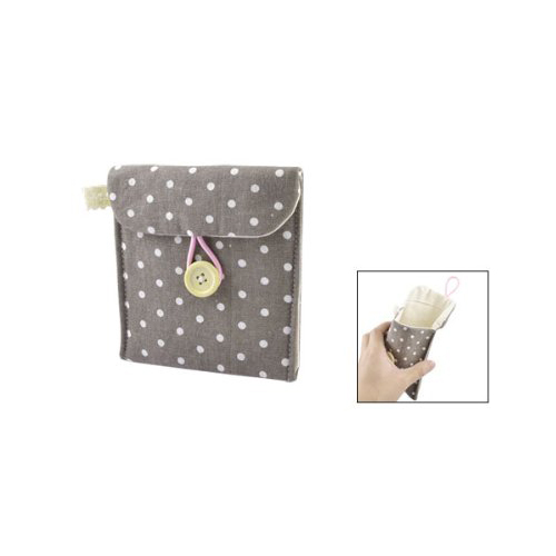 Girl Cotton Blends Polka Dots Sanitary Pad Holder Button Bag Case Gray White