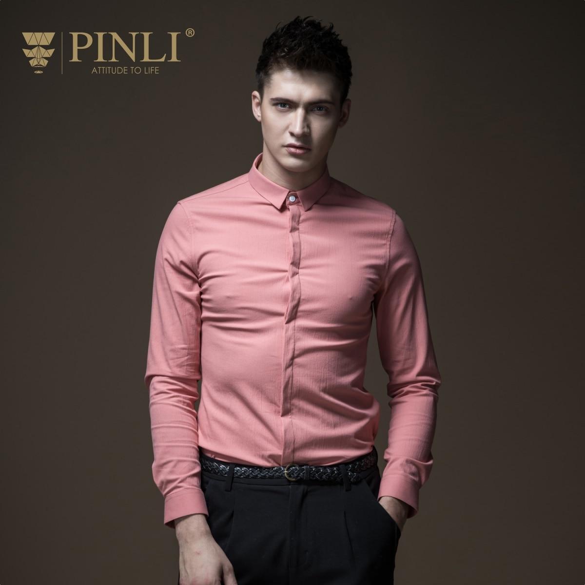 2019 chemise hawaïenne Pinli Pin Li nouvelle chemise d'automne, col mâle, couleur Pure, coupe ajustée, veste à manches longues, B183213376