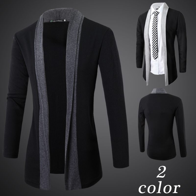 2018 Mens Knitted Sweater Black New Men Casual Long Cardigan Jumpers Without Button Patchwork Cardigans Masculino Dropshipping