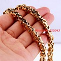 """7""""~40"""" 5mm Wholesale 316L Stainless Steel Yellow Gold Plated Byzantine Chain Mens Women Necklace or Bracelet Fashion Jewelry"""