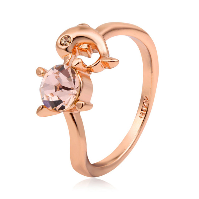3720e48b9 Cute Tiny Rose Gold Color Dolphin Kiss 4 Claw Champagne Crystal Ring For  Women Girls Finger