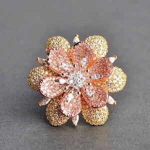 Image 4 - Blucome Luxury Rhinestones Flower Drop Earrings Ring Set Full Zircons Two Tones Jewelry Sets Women Girls D Hooks Ear Accessories