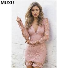 MUXU fashionable crochet floral backless dress mesh pink womens clothing black lace vestidos mujer roupa feminina