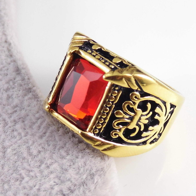 Vintage Gold/Silver Plated Crystal Ring For Men