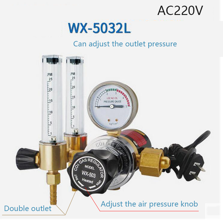 WX-503XL DOUBLE TUBE ARGON CO2 GAS MIG TIG FLOW METER WELDING WELD REGULATOR GAUGE 220V nt1 3t air cooled gas metal arc welding gun north mig welding torch coupled with twe co fitting 3 meter