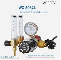 WX 503XL DOUBLE TUBE ARGON CO2 GAS MIG TIG FLOW METER WELDING WELD REGULATOR GAUGE 220V