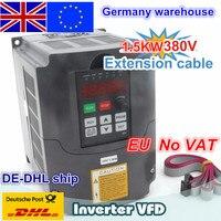 Новый 1.5kw 380 В переменной частоты VFD инвертор 5A вход 3 фазы и кабель удлинитель кожух панели управления