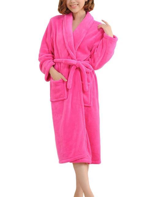 Bathrobes Women Robe Autumn Winter  Long Sleeve Flannel Robe Female Sleepwear Lounges Homewear Pyjamas