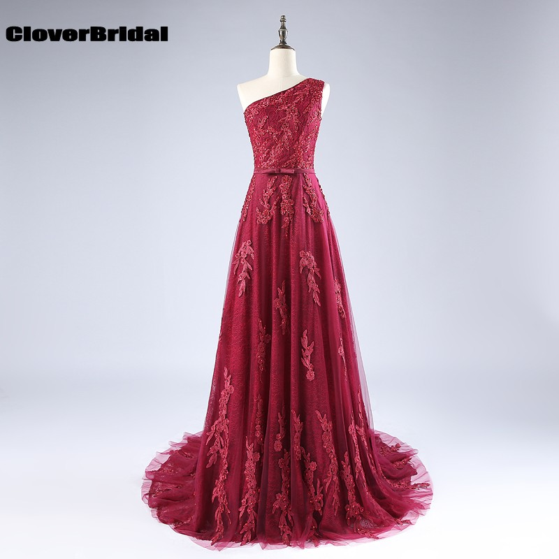2017 CloverBridal autumn beaded 3D appliques lace+tulle one shoulder burgundy   bridesmaid     dresses   A-line sweep train