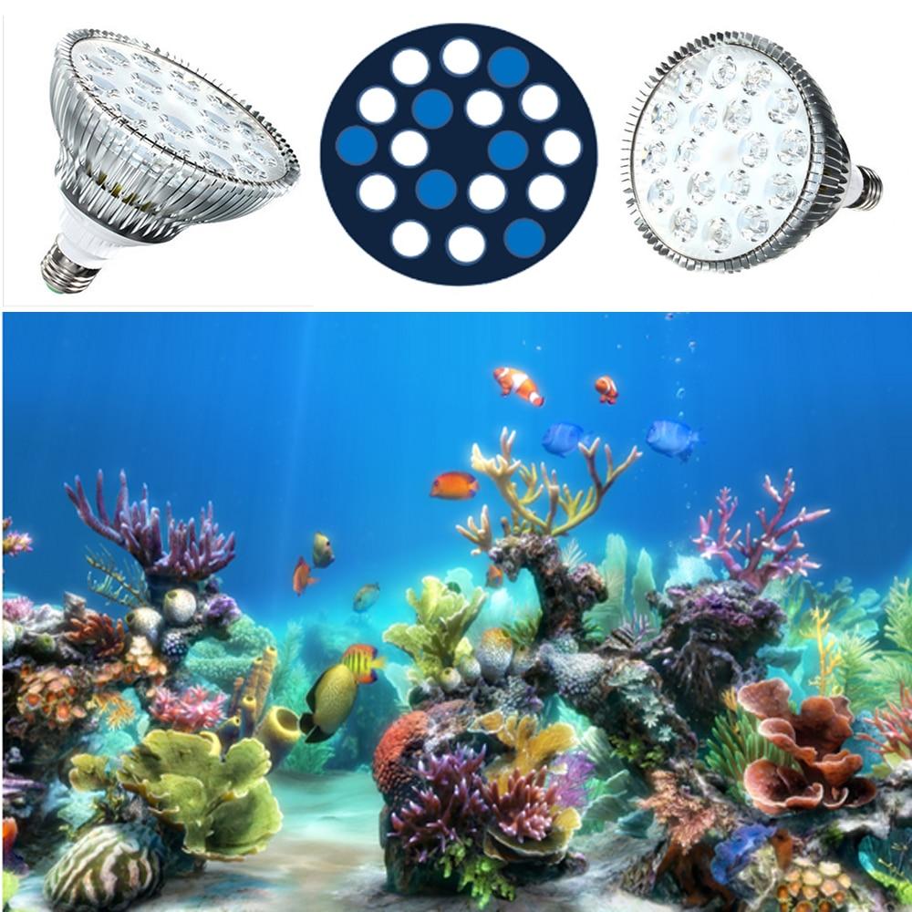 54W Aquarium Light E27 LED Aquarium Lighting Par38 LED Coral Reef Fish Tank Bulbs 12 White 12000K 6 Blue 455nm Marine coral Lamp apollo 16 192 3w led aquarium lamp white blue 1 1 full spectrum reef coral led light white 12000k