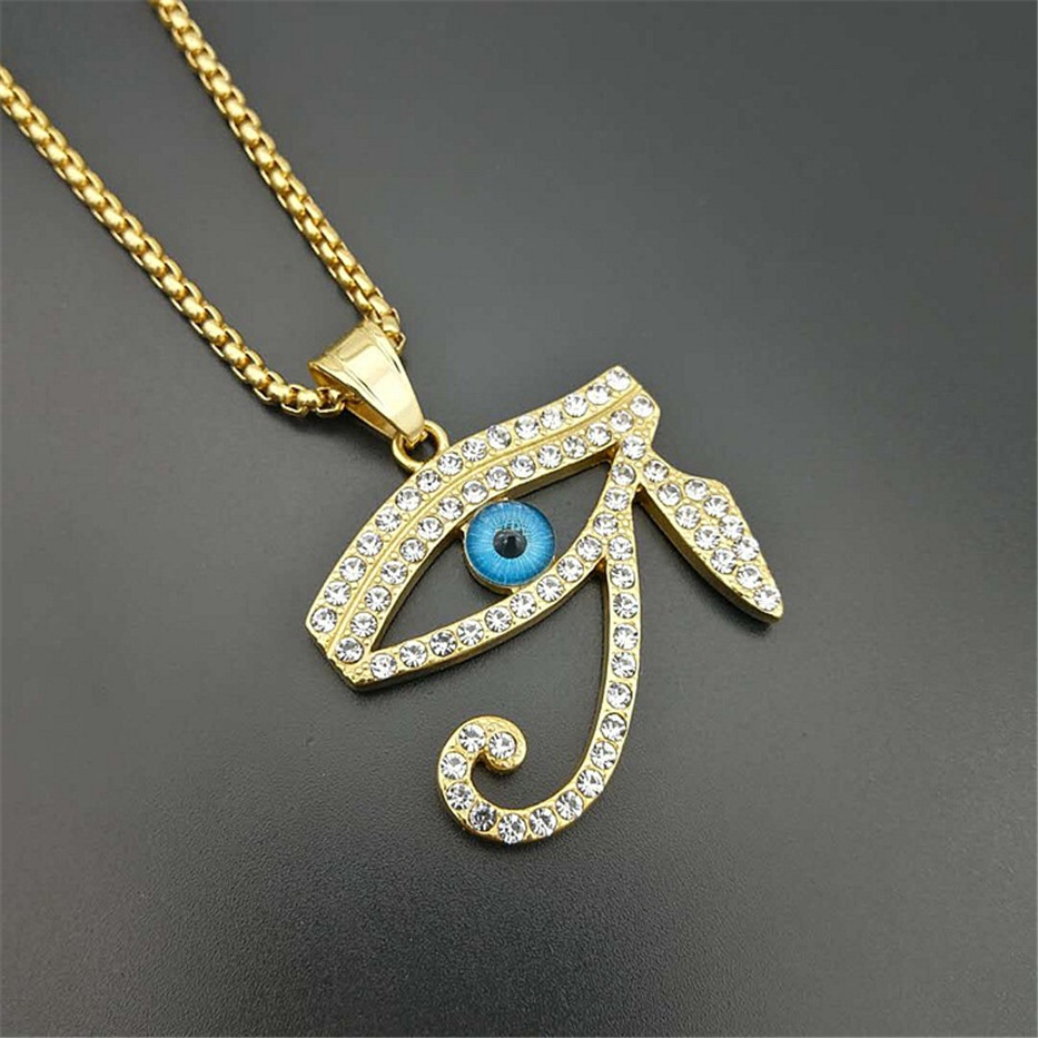Image 2 - Egyptian The Eye of Horus Pendant Necklace For Women/Men Stainless Steel Evil Eyes Necklace Iced Out Bling Hip Hop Egypt JewelryPendant Necklaces   -
