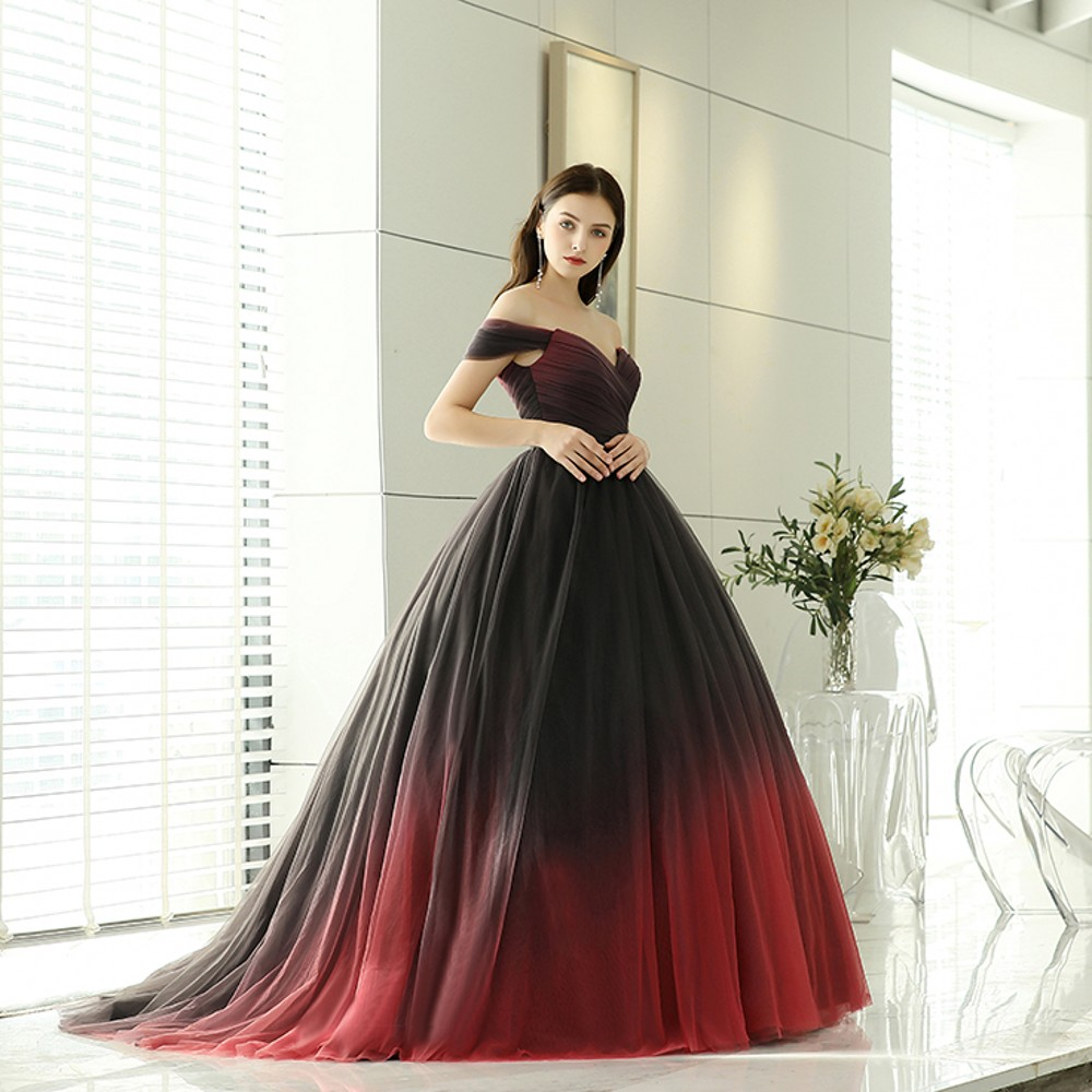 BEPEITHY Vestido De Festa New Design Sweetheart Off Shoulder Ball Gown Puffy Gradient Color Tulle Long   Evening     Dresses   2019