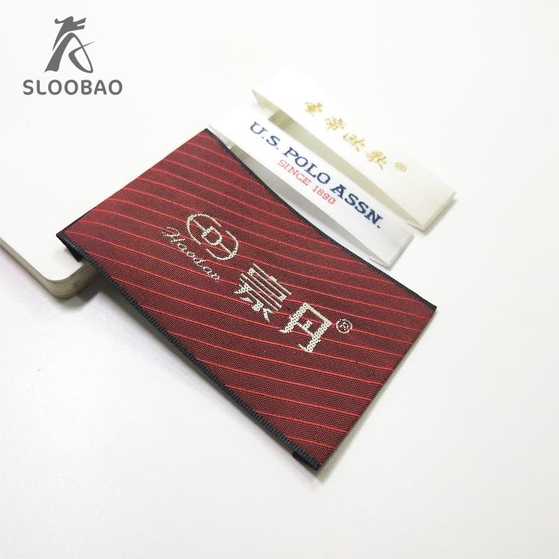 a42f6bafb العلامة التجارية القياسية حسب الطلب القماش القياسية وسم مغزول مخصص مصنوعة  من عالية الكثافة مزدوجة الوجه الديباج الذهب الأحمر التسمية