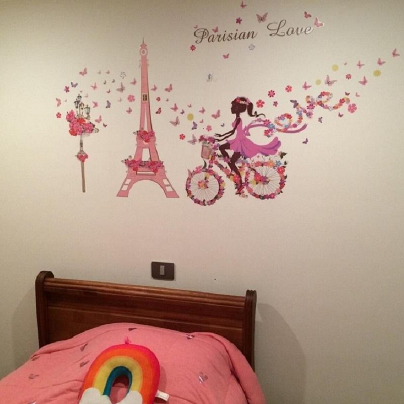 US $5.93 14% OFF|Flower Fairy Bicycle Nursery Wall Decals Pink Paris Tower  dream Wall Stickers Removable Girls Bedroom Living Room Decor mural ar-in  ...