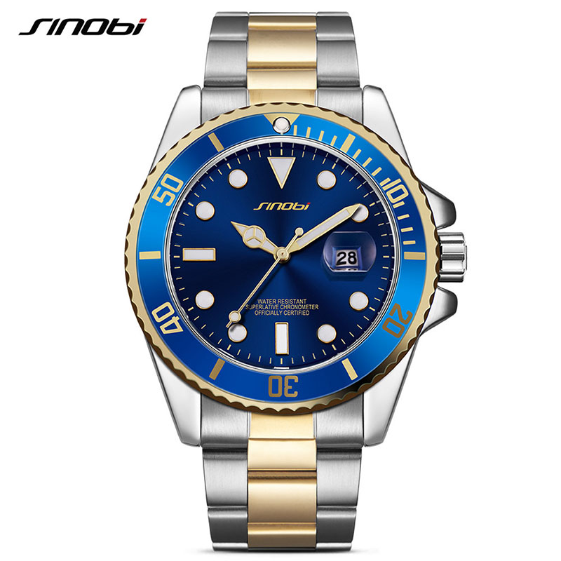 Top Luxury Brand Men Watches Men's Stainless Steel Quartz Clock Man High Quality Waterproof Wrist Watch SINOBI Gold Black Saat jinen women new top quality brand watches japan quartz waterproof rose gold stainless steel watch business luxury female clock