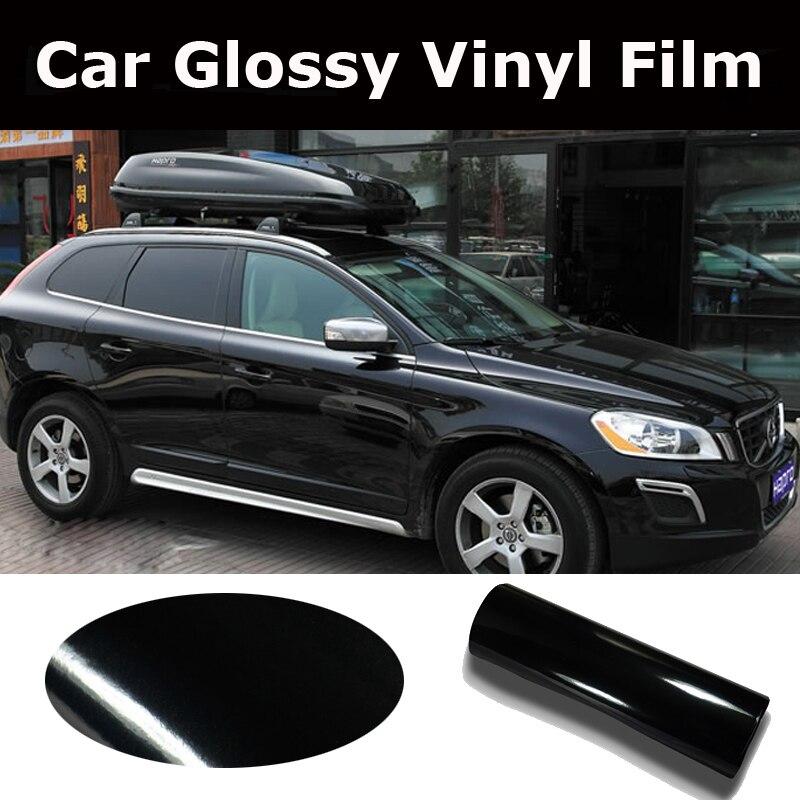 1.52*5/15/20/30 M haute brillance noir vinyle Wrap voiture Wrap avec bulle d'air brillant noir vinyle Ultra brillant Wrap Film