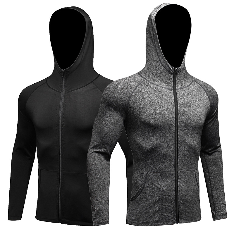Quick Dry Men Running Jacket Hooded Outerwear Workout Gym Clothes Autumn Winter Men Sports Jackets Zipped Solid Color Elastic