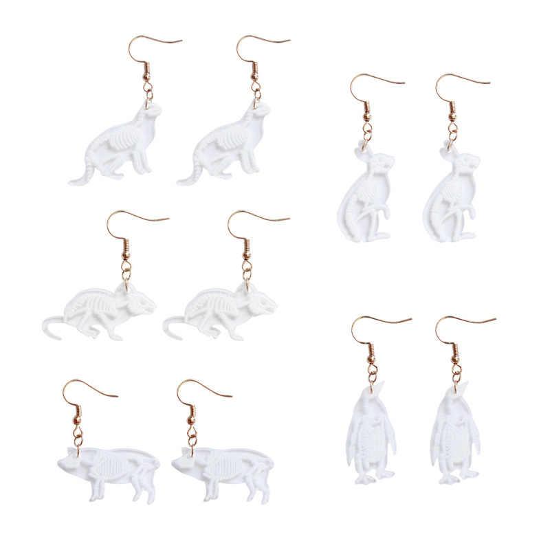 Novo criativo transparente animal esqueleto gota brinco mouse coelho pinguim pássaro porco gato acrílico brincos para as mulheres festa jóias