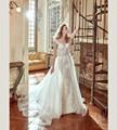 Custom Size Cap Sleeves Lace Appliques Buttons Back Mermaid Beaded Sash Detachable Train Wedding Dress vestido de noiva branco