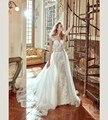 Tamanho personalizado Cap Mangas de Renda Apliques Botões Voltar Sereia Frisada Sash Destacável Train Vestido de Noiva vestido de noiva branco