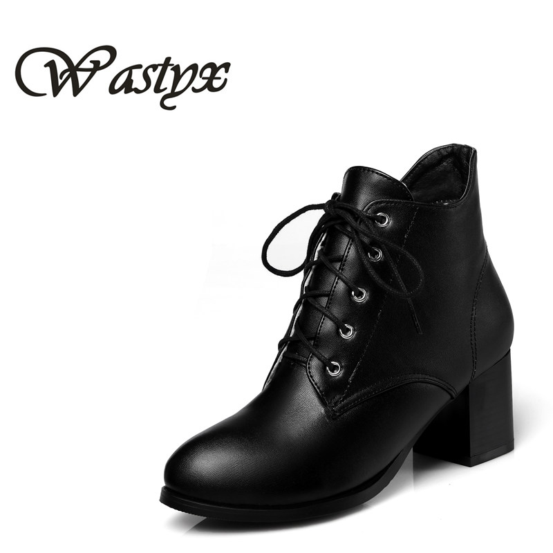 Wastyx 2017 new women boots fahsion lace up ankle boot square heel shoes woman round toe autumn winter boots big size 34-48 enmayla winter autumn round toe low heel knee high boots women flats lace up shoes woman rider brown black suede motorcycle boot