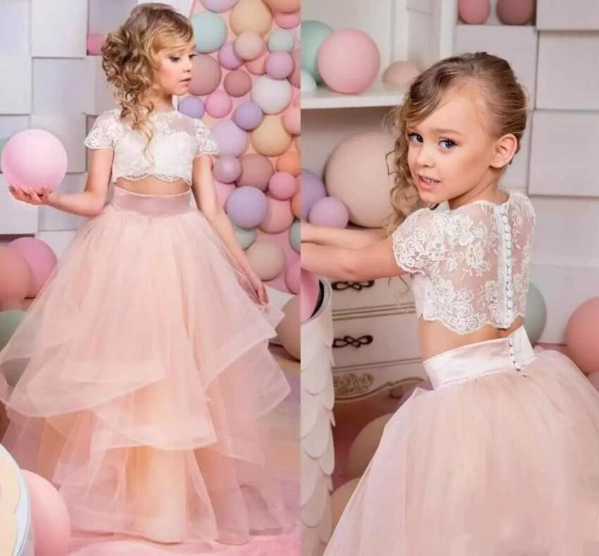 New Puffy Flower Girl Dresses for Wedding Ball Gown Girls Pageant Gown Lace Kids size 4 6 8 10 12 14 Custom lovely purple ball gown long flower girl dresses for wedding custom made girls pageant gown